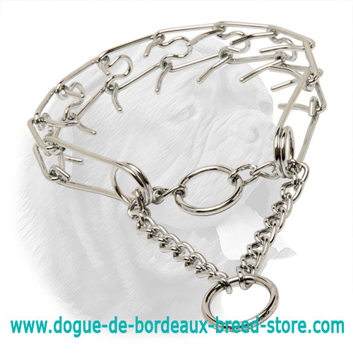 """Toothy Tamer"" Chrome Plated Steel Pinch Collar for Dogue de Bordeaux - 1/6 inch (3.99 mm)"