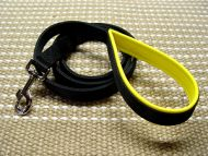 Nylon dog leash with support material on the handle