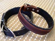 Leather dog collar padded with thick felt